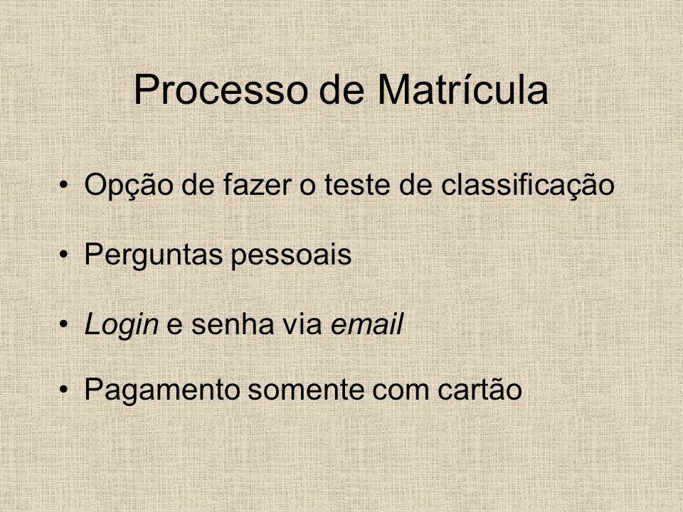 Processo de Matrícula Opção de fazer o teste de classificação