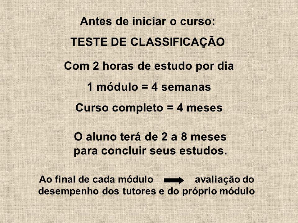 Antes de iniciar o curso: TESTE DE CLASSIFICAÇÃO