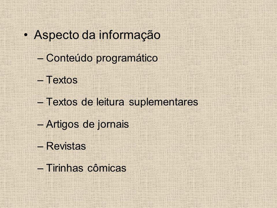 Aspecto da informação Conteúdo programático Textos