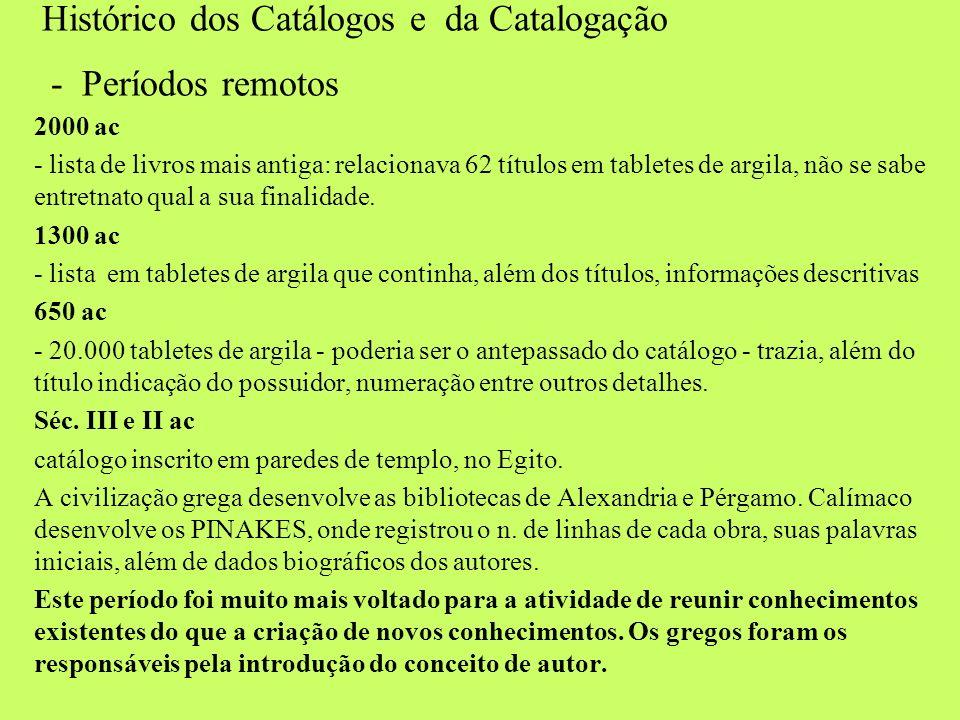 Histórico dos Catálogos e da Catalogação - Períodos remotos