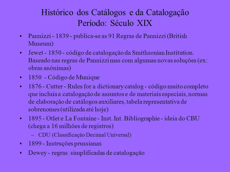 Histórico dos Catálogos e da Catalogação Período: Século XIX