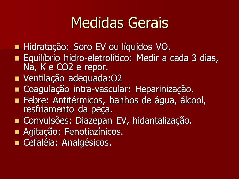 Medidas Gerais Hidratação: Soro EV ou líquidos VO.