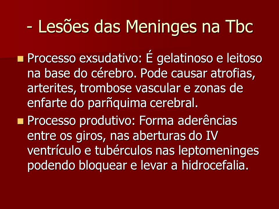 - Lesões das Meninges na Tbc