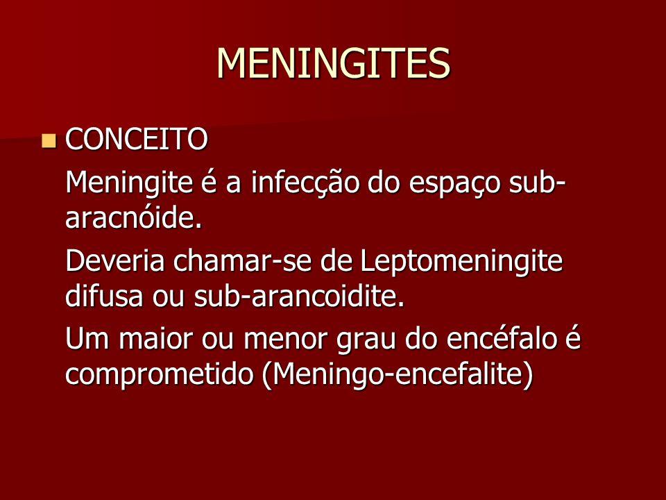 MENINGITES CONCEITO Meningite é a infecção do espaço sub-aracnóide.