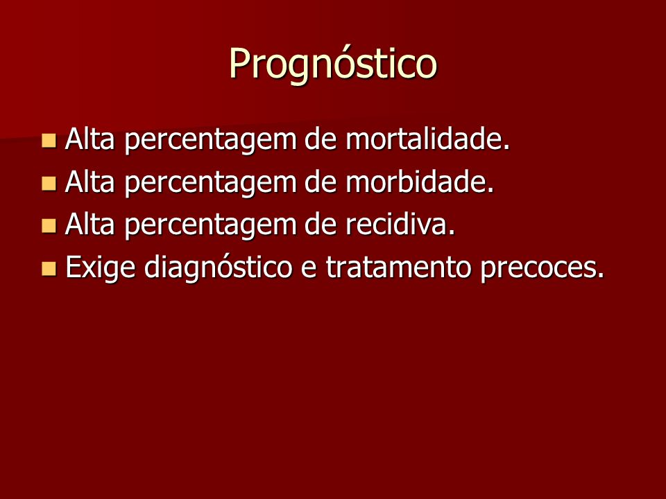 Prognóstico Alta percentagem de mortalidade.