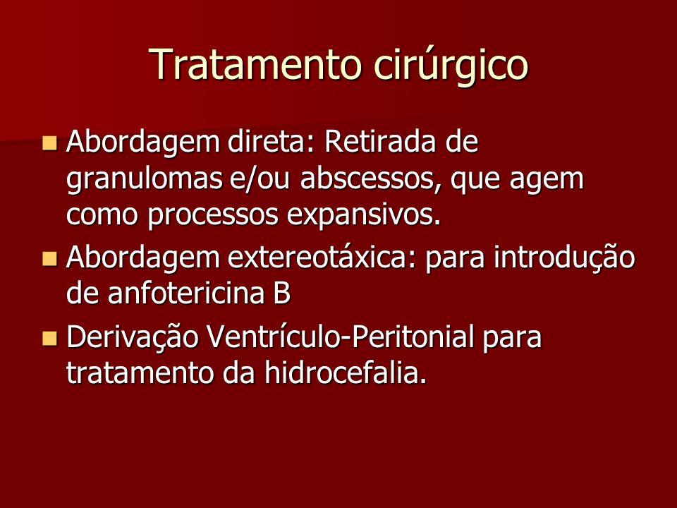Tratamento cirúrgico Abordagem direta: Retirada de granulomas e/ou abscessos, que agem como processos expansivos.