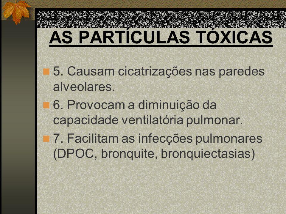 AS PARTÍCULAS TÓXICAS 5. Causam cicatrizações nas paredes alveolares.