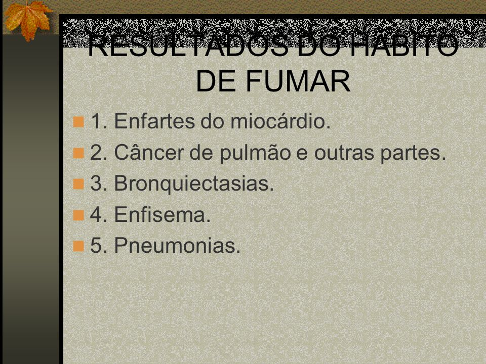 RESULTADOS DO HÁBITO DE FUMAR