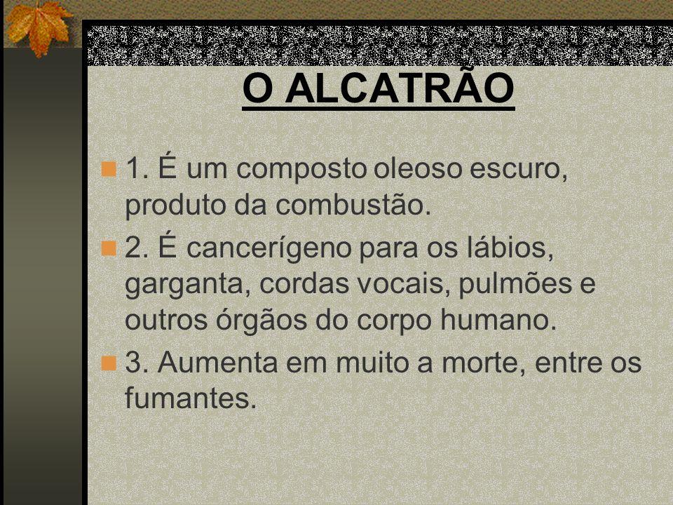 O ALCATRÃO 1. É um composto oleoso escuro, produto da combustão.