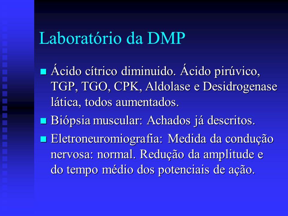 Laboratório da DMP Ácido cítrico diminuido. Ácido pirúvico, TGP, TGO, CPK, Aldolase e Desidrogenase lática, todos aumentados.