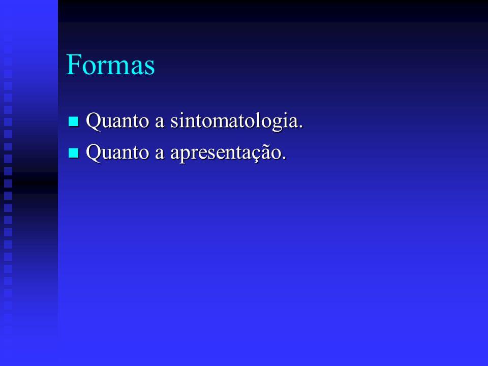 Formas Quanto a sintomatologia. Quanto a apresentação.
