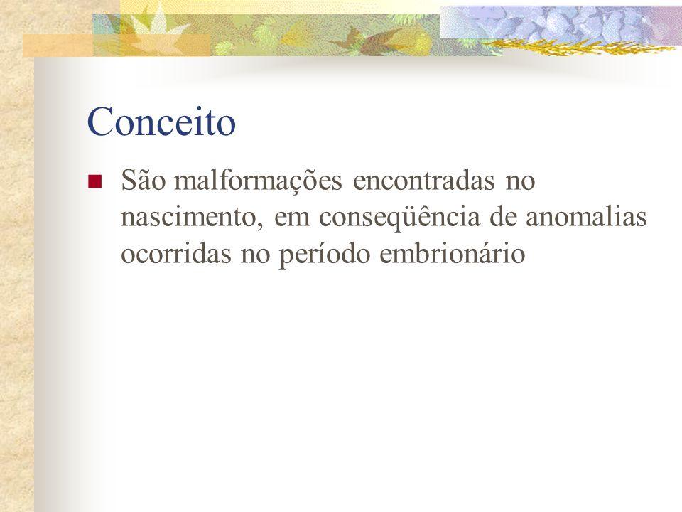 ConceitoSão malformações encontradas no nascimento, em conseqüência de anomalias ocorridas no período embrionário.