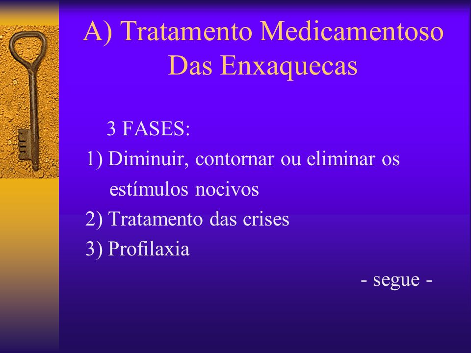 A) Tratamento Medicamentoso Das Enxaquecas