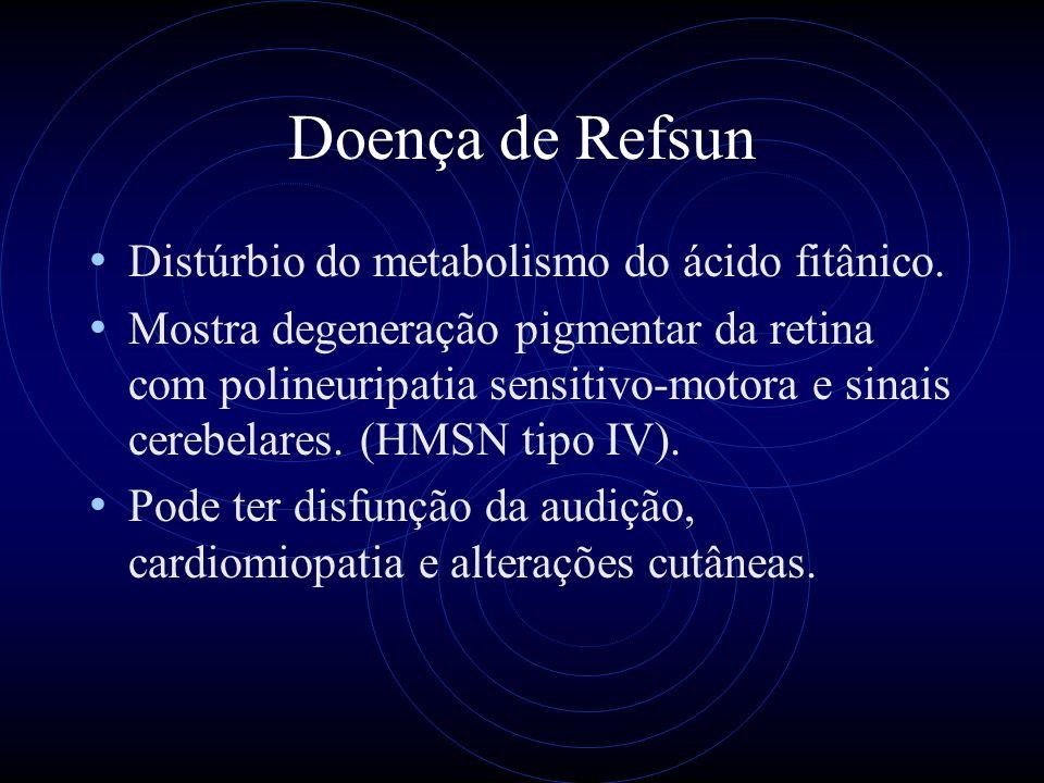 Doença de Refsun Distúrbio do metabolismo do ácido fitânico.