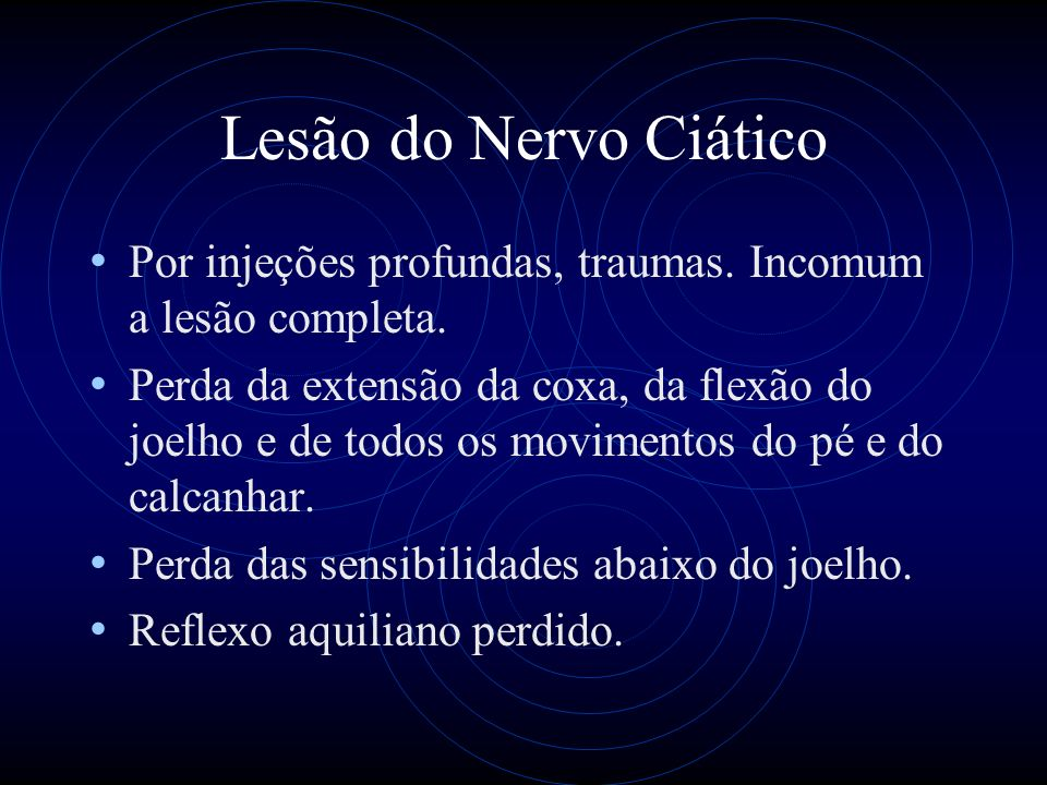 Lesão do Nervo CiáticoPor injeções profundas, traumas. Incomum a lesão completa.