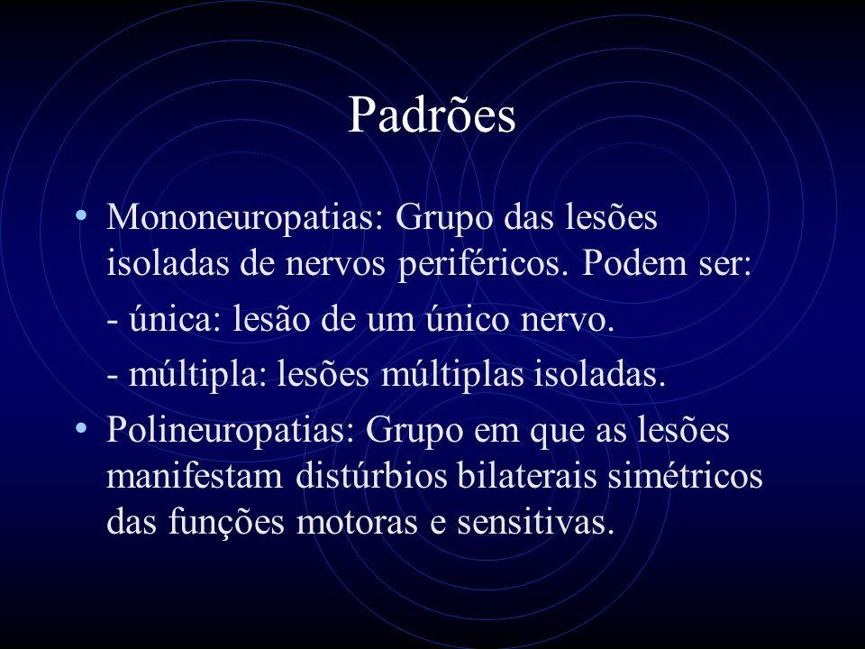 Padrões Mononeuropatias: Grupo das lesões isoladas de nervos periféricos. Podem ser: - única: lesão de um único nervo.