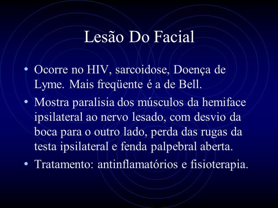 Lesão Do Facial Ocorre no HIV, sarcoidose, Doença de Lyme. Mais freqüente é a de Bell.