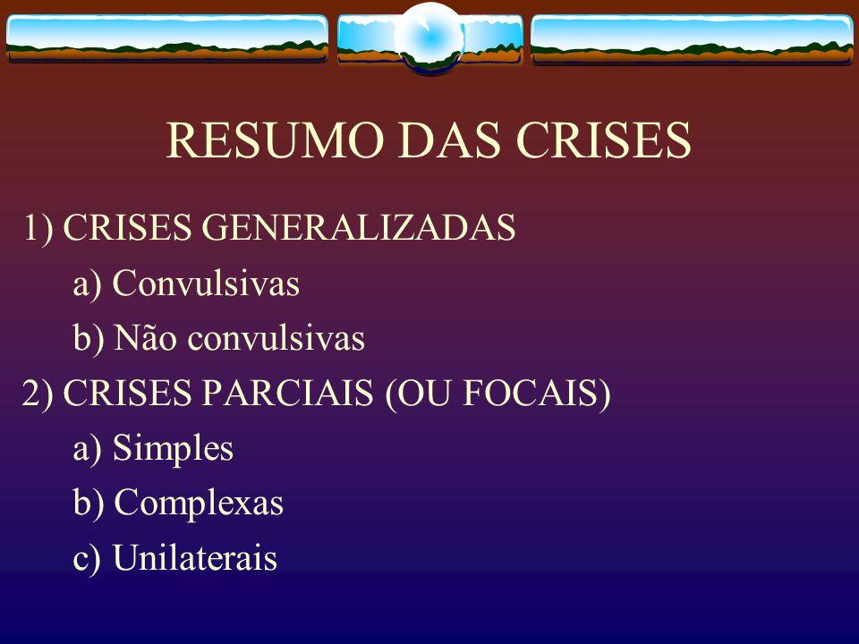 RESUMO DAS CRISES 1) CRISES GENERALIZADAS a) Convulsivas