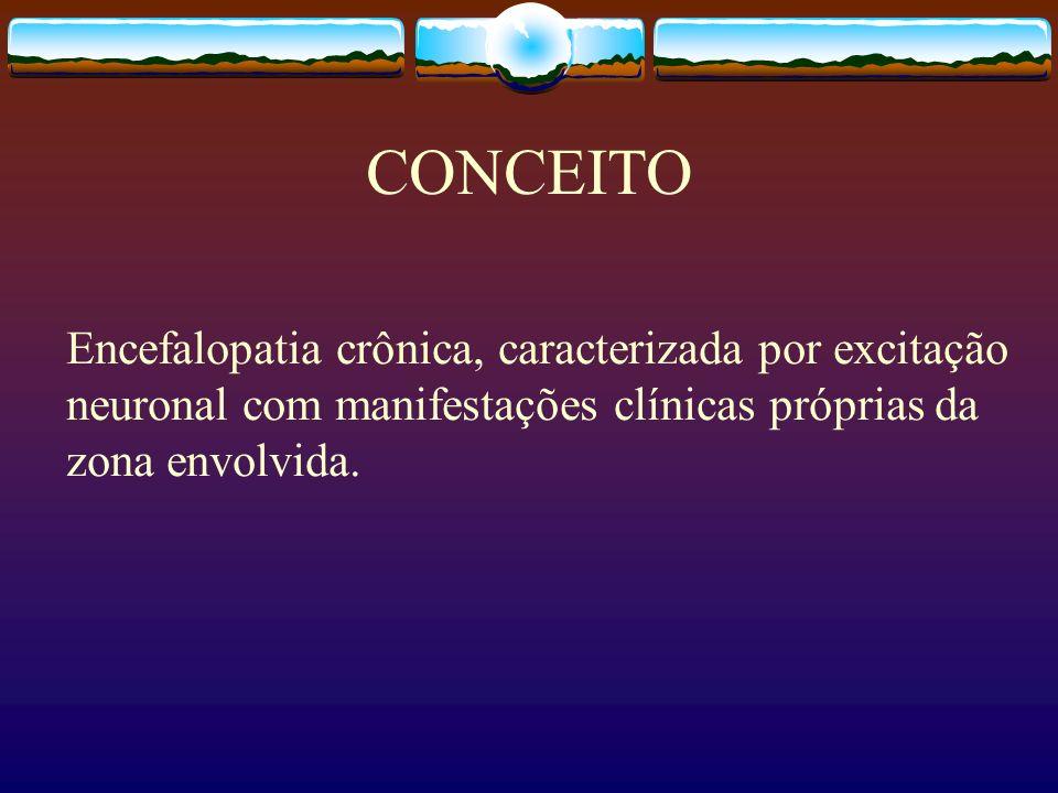 CONCEITOEncefalopatia crônica, caracterizada por excitação neuronal com manifestações clínicas próprias da zona envolvida.
