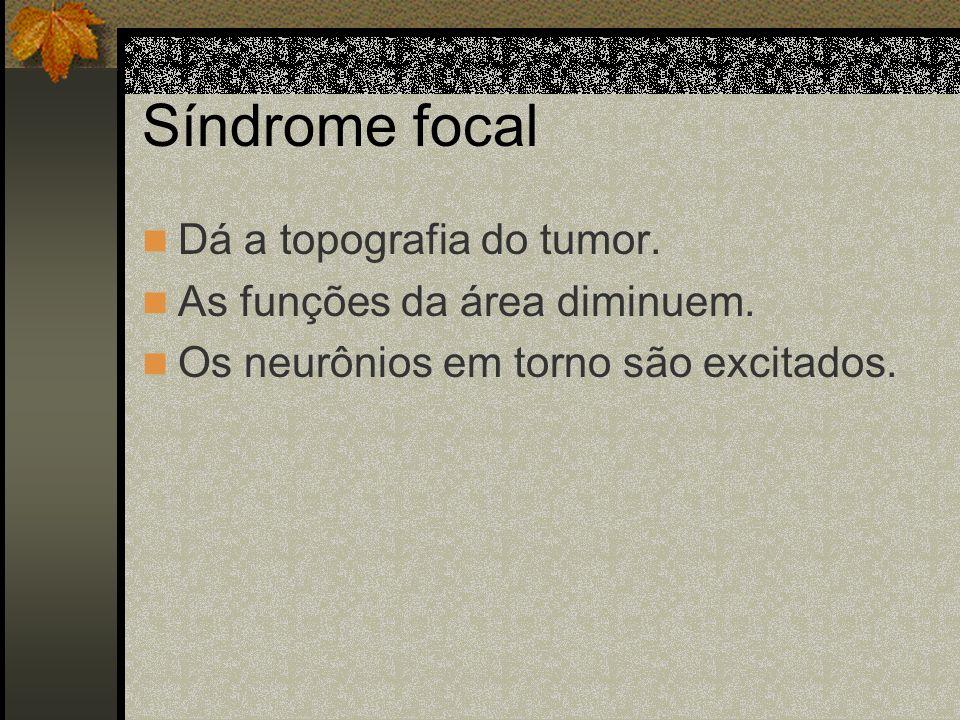 Síndrome focal Dá a topografia do tumor. As funções da área diminuem.