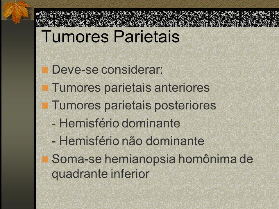 Tumores Parietais Deve-se considerar: Tumores parietais anteriores