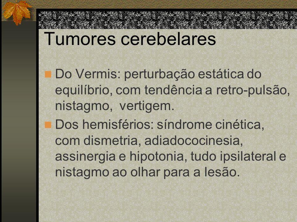 Tumores cerebelaresDo Vermis: perturbação estática do equilíbrio, com tendência a retro-pulsão, nistagmo, vertigem.