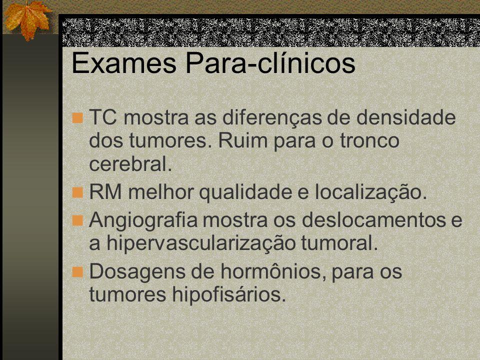 Exames Para-clínicosTC mostra as diferenças de densidade dos tumores. Ruim para o tronco cerebral. RM melhor qualidade e localização.