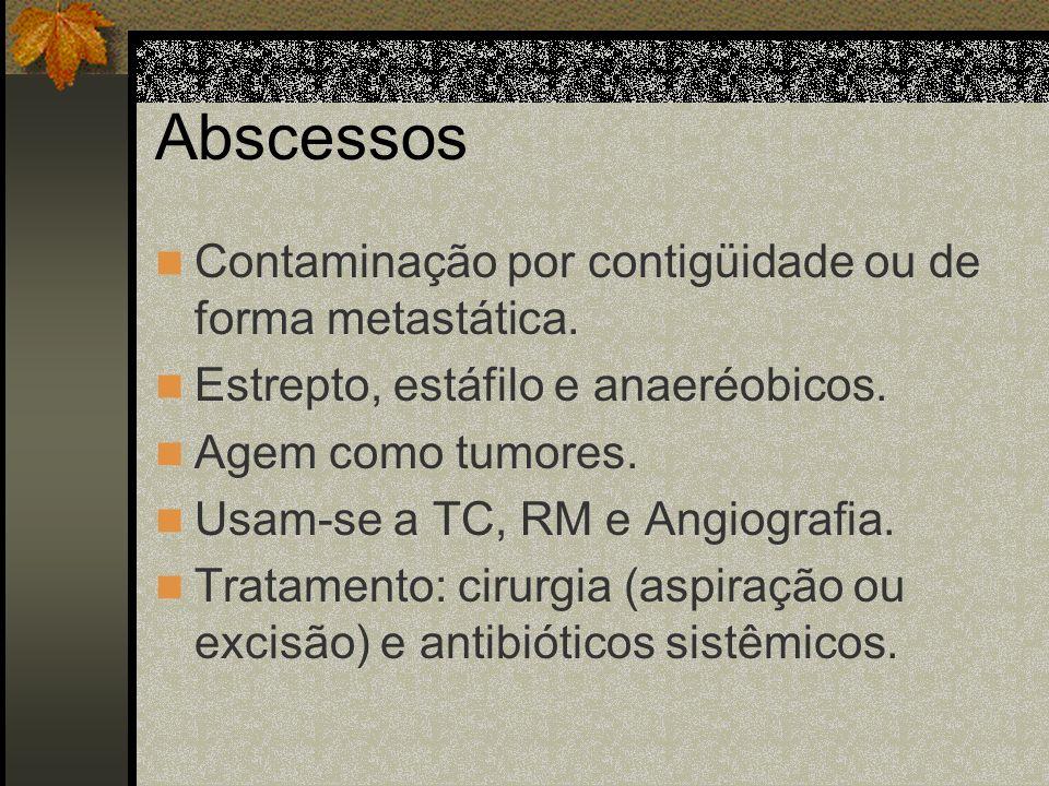 Abscessos Contaminação por contigüidade ou de forma metastática.