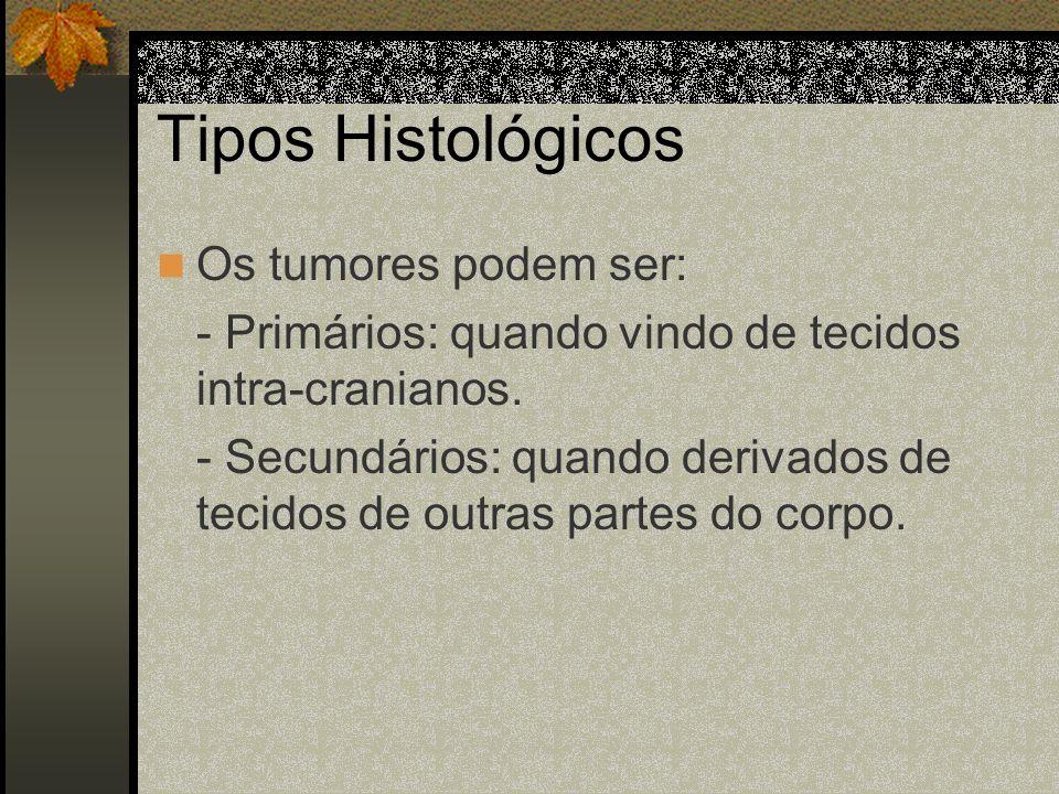 Tipos Histológicos Os tumores podem ser: