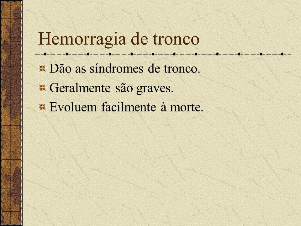 Hemorragia de tronco Dão as síndromes de tronco.