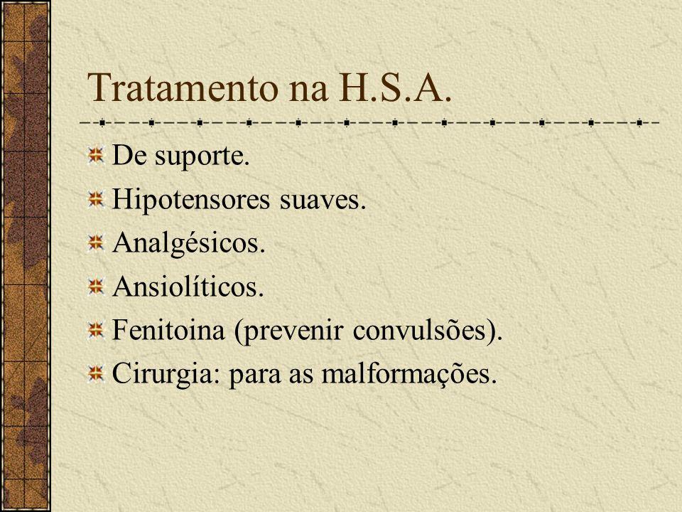 Tratamento na H.S.A. De suporte. Hipotensores suaves. Analgésicos.