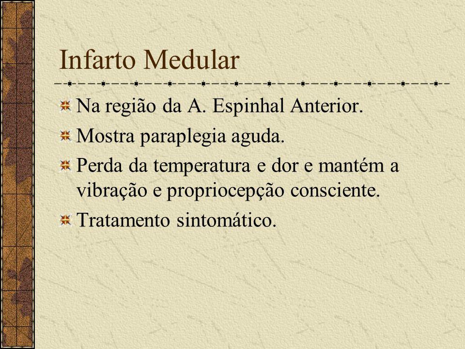 Infarto Medular Na região da A. Espinhal Anterior.