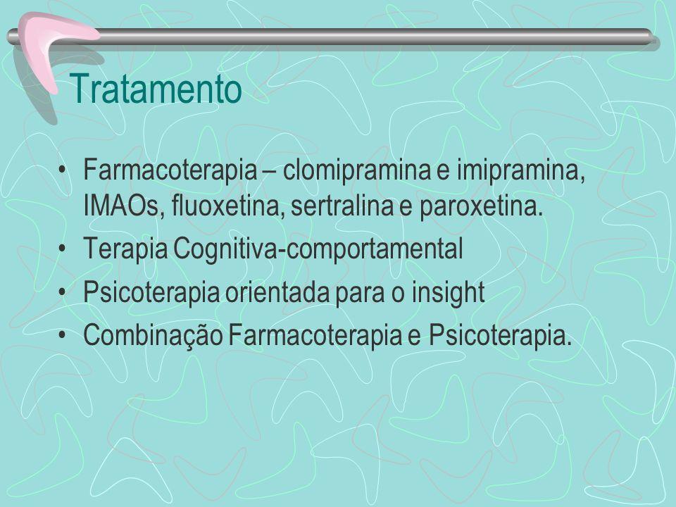 Tratamento Farmacoterapia – clomipramina e imipramina, IMAOs, fluoxetina, sertralina e paroxetina. Terapia Cognitiva-comportamental.