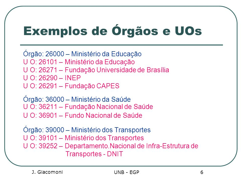 Exemplos de Órgãos e UOs