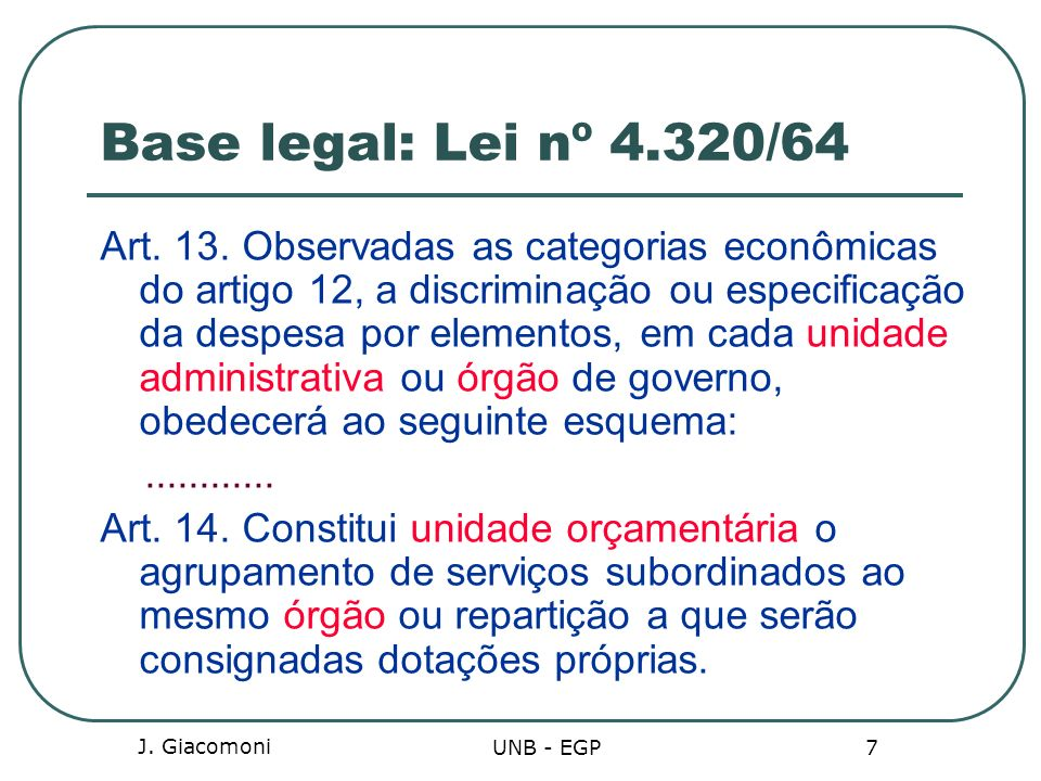 Base legal: Lei nº 4.320/64