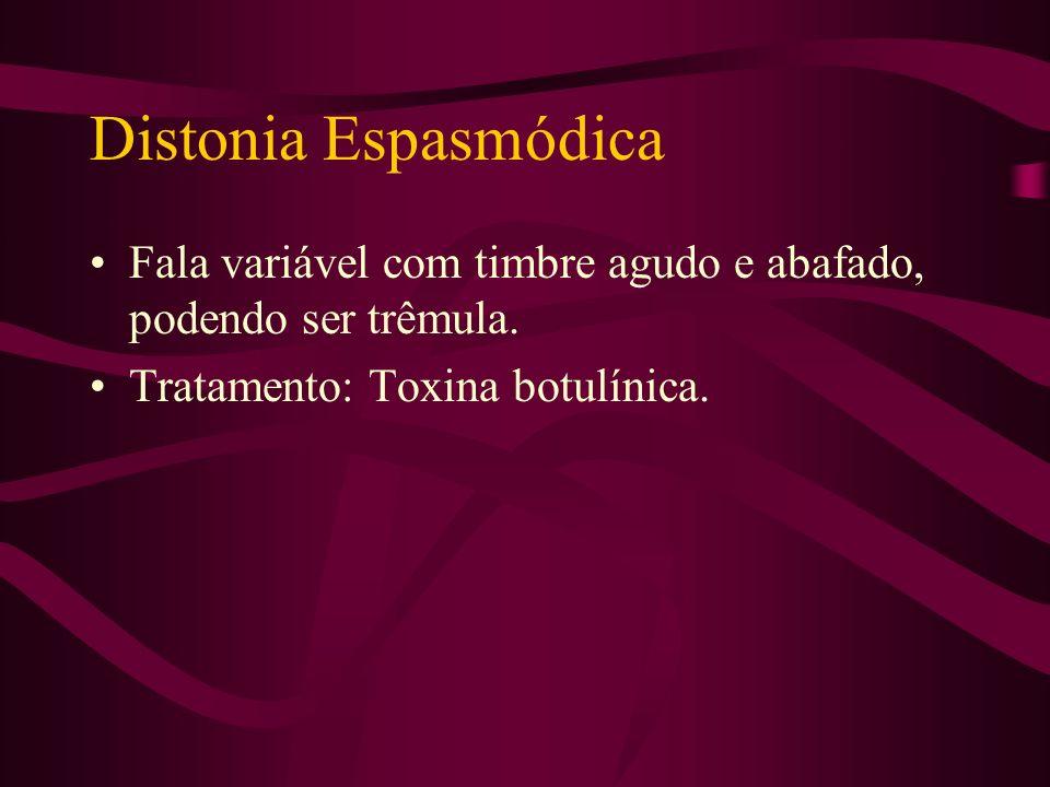 Distonia Espasmódica Fala variável com timbre agudo e abafado, podendo ser trêmula.