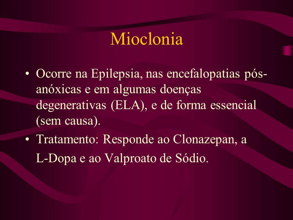 Mioclonia Ocorre na Epilepsia, nas encefalopatias pós-anóxicas e em algumas doenças degenerativas (ELA), e de forma essencial (sem causa).