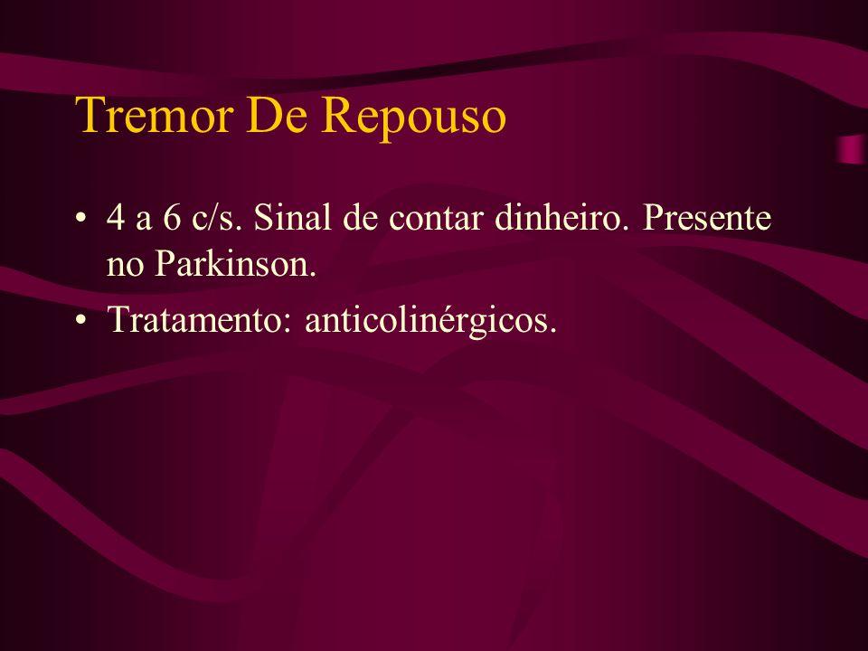 Tremor De Repouso 4 a 6 c/s. Sinal de contar dinheiro.
