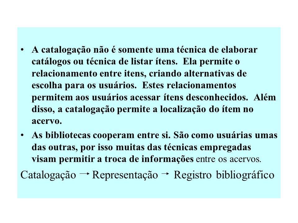 Catalogação Representação Registro bibliográfico