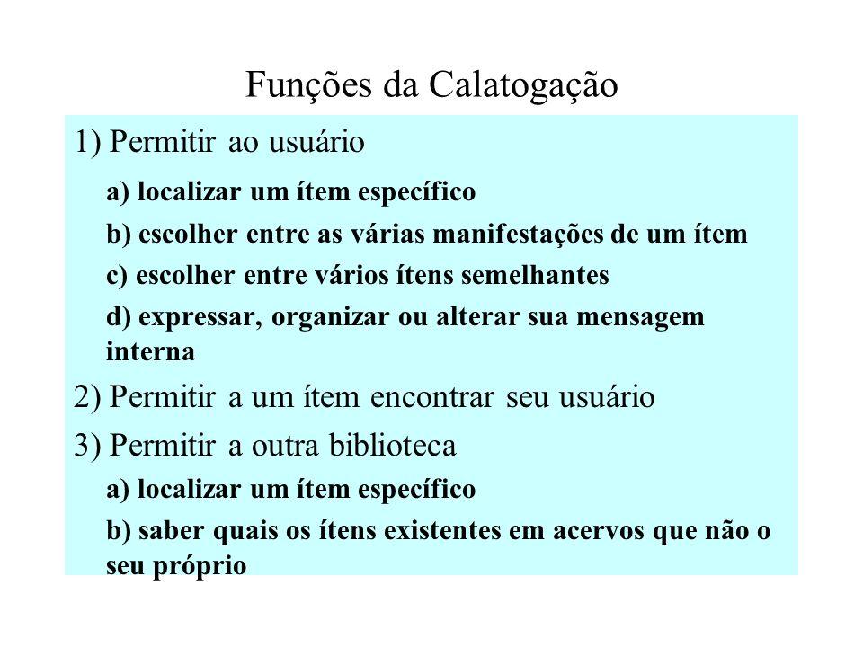 Funções da Calatogação