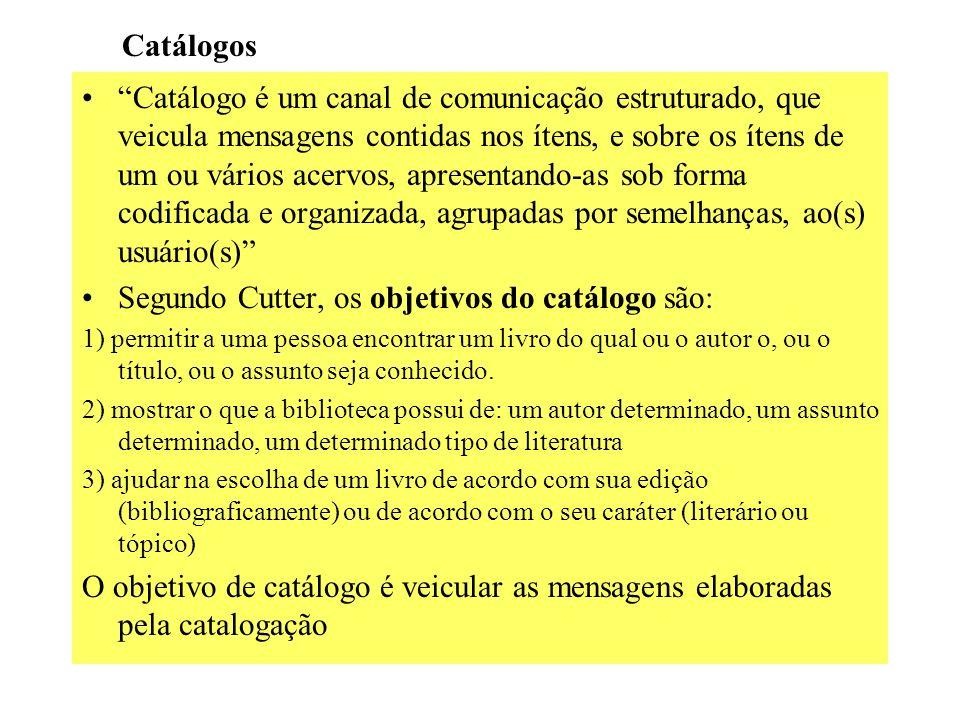 Segundo Cutter, os objetivos do catálogo são: