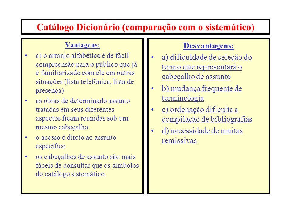 Catálogo Dicionário (comparação com o sistemático)