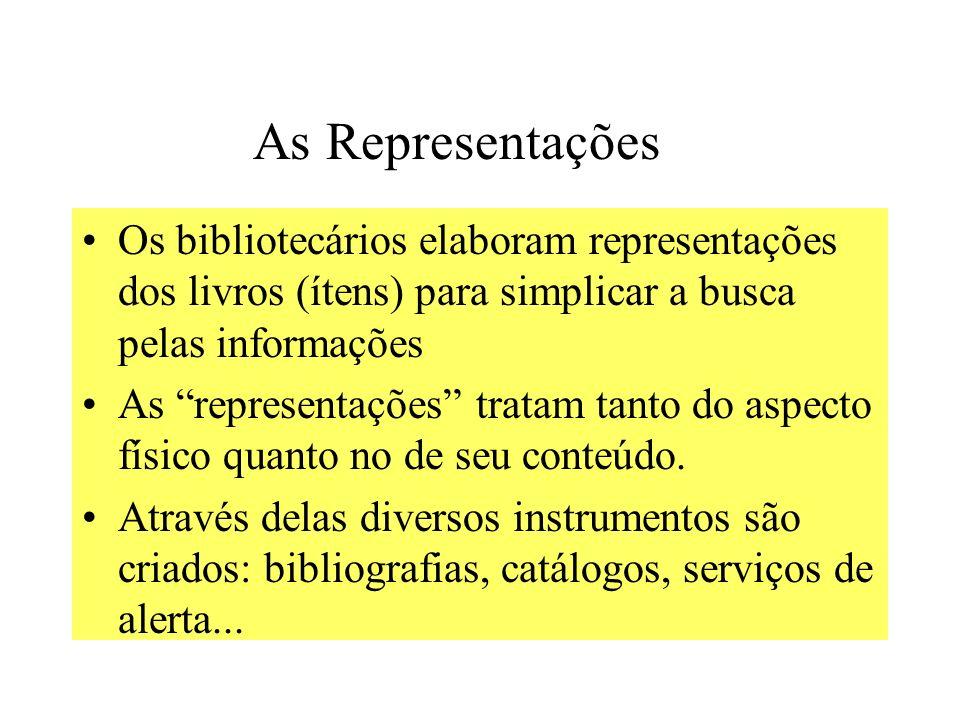 As Representações Os bibliotecários elaboram representações dos livros (ítens) para simplicar a busca pelas informações.