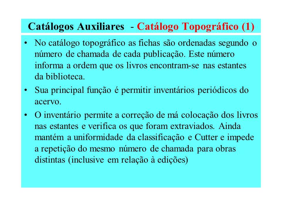 Catálogos Auxiliares - Catálogo Topográfico (1)