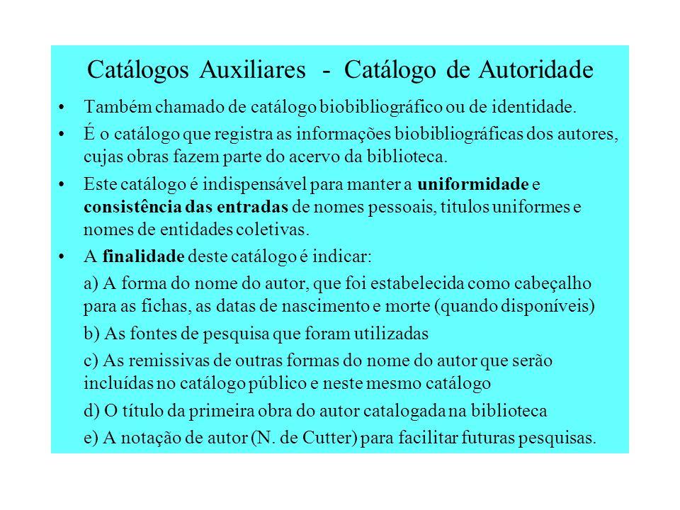 Catálogos Auxiliares - Catálogo de Autoridade