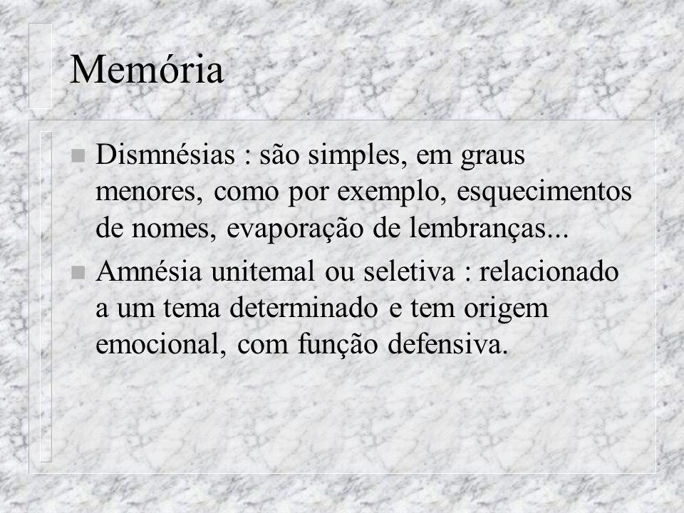 MemóriaDismnésias : são simples, em graus menores, como por exemplo, esquecimentos de nomes, evaporação de lembranças...