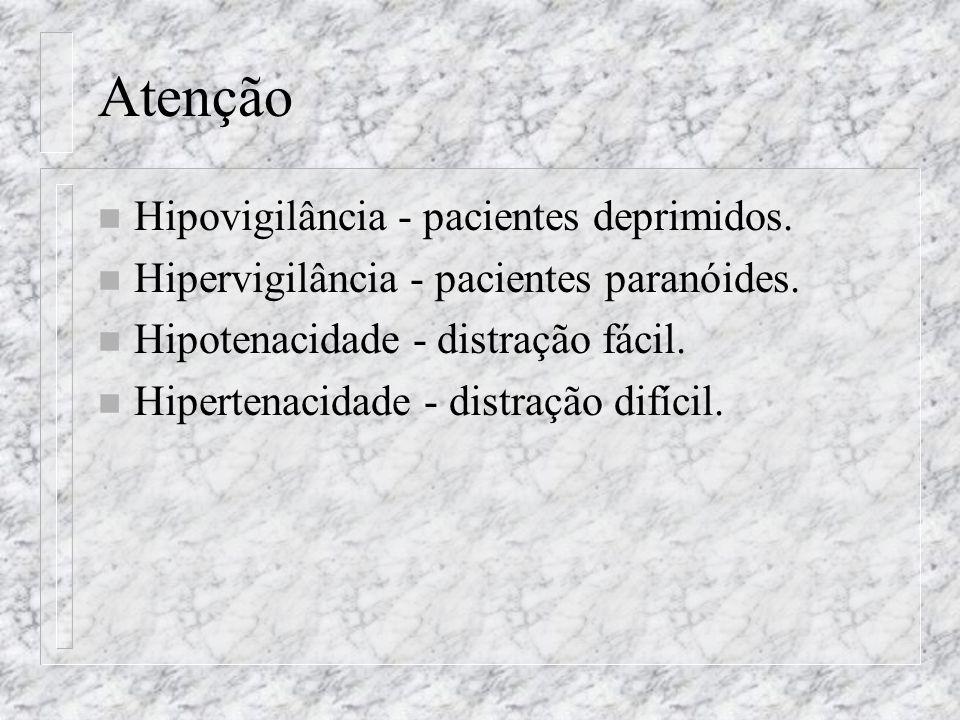 Atenção Hipovigilância - pacientes deprimidos.