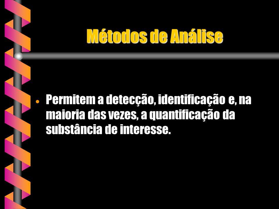 Métodos de Análise Permitem a detecção, identificação e, na maioria das vezes, a quantificação da substância de interesse.