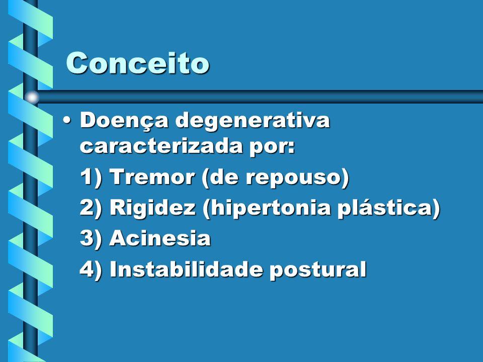 Conceito Doença degenerativa caracterizada por: 1) Tremor (de repouso)