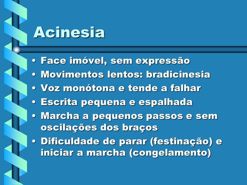 Acinesia Face imóvel, sem expressão Movimentos lentos: bradicinesia